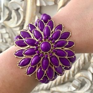 Purple Floral Beaded Gem Bracelet